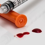 Blood from needle