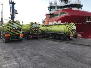 3 Articulated Suction Units removing waste from ship